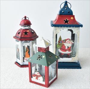 European Vintage Iron Art Home Courtyard Santa Claus Snowman Christmas lantern Candle Holder Decoration Manufactures