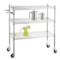 China Stainless Steel Chrome Mobile Wire Metal Shelving Cart With 3 Ventilated Shelves on sale