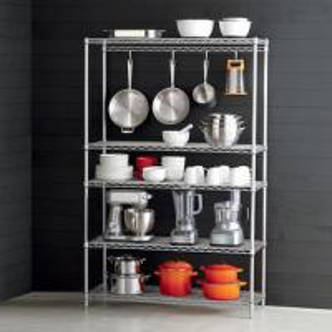 China 5-Shelf Chrome Stainless Steel Shelving Unit - Home Kitchen Storage Rack on sale