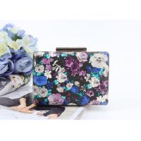 Flowers painting printed surface pu metal frame rectangle shaped pu clutch bag for women Manufactures