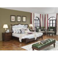 American Western design style Villa Bedroom furniture Fabric Headboard Screen Wood Bed with Leather Bench and  Armchair Manufactures