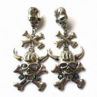 Fashionable Skull Drop Earrings with Stones, Available in Various Designs and Colors Manufactures