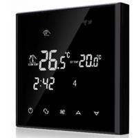 China Heating / Cooling Touch Screen Room Thermostat NTC Sensor Black Color on sale