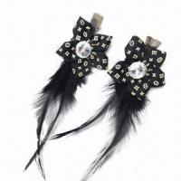Flower Brooch/Hairpin, Decorated with Feather, Available in Various Designs and Colors Manufactures