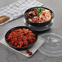 China Disposable Plastic Soup Bowls Disposable Serving Bowl For Salad Soup Noodles Containers With Lids on sale