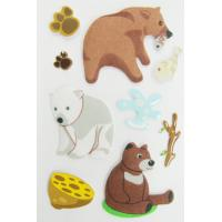 Fuzzy Puffy custom book Stickers For Kids / Cute Little Bear desk Stickers Manufactures