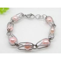 High quality Elegant style Stainless Steel Gray Pearl Charm Bracelets for Anniversary Manufactures