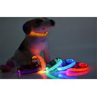 Flashing Safety Comfortable Dogs Led Pet Collar Red Green Yellow With Leopard Printing Manufactures