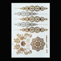 Black Color Metallic Tattoo Stickers , Shimmer Metallic Jewelry Tattoos Manufactures