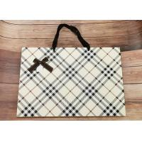 Luxury Check Pattern Reusable Kraft Paper Packaging Bags Big Size With Silk Ribbon Manufactures