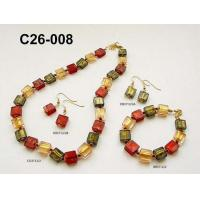 China Glass Necklaces bracelet Earring jewelry Set , Zinc Alloy Plated on sale