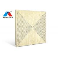 Quality Wood Grain Perforated Acoustic Ceiling Tiles For Contemporary Living Room Decoration for sale