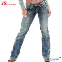 Low Waist Washed Printed Jeans For Womens Elastic Straight Dark Blue Jeans Womens