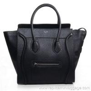 Celine Mini Luggage Tote Bag Pebbled Leather Black Manufactures
