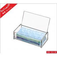 Rectangle Tissue Acrylic Holder Stand With Slip - Open Cover
