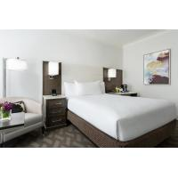 Hotel Room Standard Large Bedroom Leather Padded Headboard Bed and Big TV Cabinets with Lounge Sofa set by Black Walnut