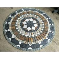 Round style slate mosaic type floor paving pattern medallions composited natural stone medallions round paving Manufactures
