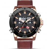 leather strap analog digital dual display waterproof 30m  sports watches for men Manufactures