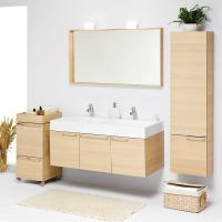 customized modern 80 cm bamboo round floor standing Bathroom vanity base Cabinet Manufactures