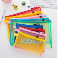Office Stationery Mesh Bags With Slider Zipper, expanding file/folder/File cover/documents pouch carry bag Manufactures
