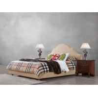 Quality American leisure style Split Leather Upholstered Headboard Kind Bed with Wooden Furniture for Villa house Bedroom used for sale