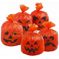 Halloween lawn and leaf bags for Halloween outdoor decoration,DELUXE GLOW IN THE DARK Pumpkin Leaf/Lawn/Yard bags bageas Manufactures