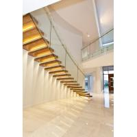 Clear glass railing floating stair with Led light Manufactures