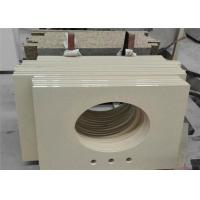 Hotel Project Quartz Bathroom Vanity Tops Pure Beige With Eased Edges Manufactures