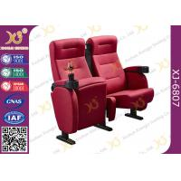 Quality Full Fabric Covered Cinema Theater Chairs For Home Theater With Cupholder for sale