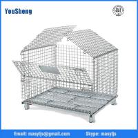 Quality steel cargo Basket/Wire Mesh Box/Collapsible Warehouse pallet/mobile Cages With Fork Guide for sale