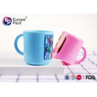 China Blue / Pink Cartoon Personalized Plastic Cups With Handles For Kids on sale