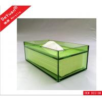 Green Rectangle Facial Tissue Box , Acrylic Holder Display For Household Manufactures