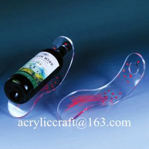 China Customized acrylic single wine bottle holder / PMMA wine bottle racks on sale