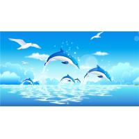 China Crystal Surface Bamboo Fiber Material Playful Dolphins Sound Absorption on sale