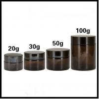 China Brown Cosmetic Cream Jar Recycle Glass Empty Type Flat Shoulder Bottle Shape on sale
