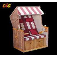China Leisure Rattan Wooden Chair Outdoor Furniture Beach Chair Two Seat Red / White Color on sale