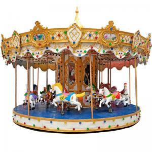 China Colorful Theme Park Carousel Mini Fairground Rides 1.2 M/S Speed 380V Voltage on sale