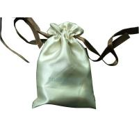 Deux Beige Shing Satin Ribbon Drawstrings Bag, Fabric Carrier Bags 2 Side Printing Manufactures