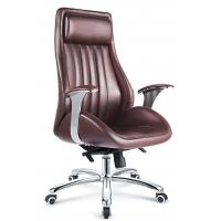 Executive Style Brown PU Leather Office Chair With Casters High Durability Manufactures