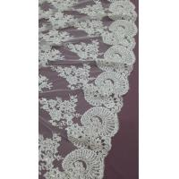 140cm Sequin Beaded Ivory Lace Fabric , White Embroidered Bridal Wedding Lace Manufactures