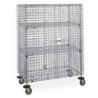 Hotel Transship Three Shelves Mobile Wire Security Cages Cold Steel Galvanized