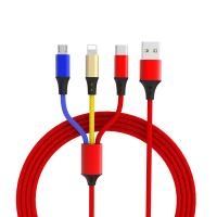 Multi Colored 3 In 1 USB Charging Cable Nylon Braided For Micro Type C Phones Manufactures