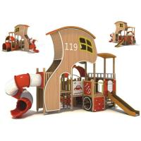 China Large Plastic Slider Kids Outdoor Play Equipment Firefighter Design Hut on sale
