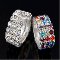 Copper plating silver alloy fashion diamonds girls stretch rings Manufactures