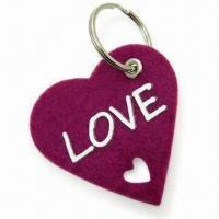 Lovely Heart-shape Fancy Keychain, made of 3mm Thick Felt, Measures 6 x 6cm Manufactures