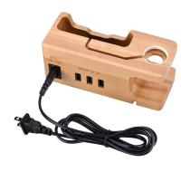 China Multi - Port Wooden Phone Charger with Apple Watch Charging Base on sale