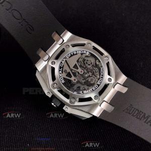 Quality Perfect Replica Audemars Piguet Royal Oak Offshore Black Hollow Dial 43mm for sale
