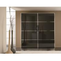 China Glass Sliding Door Wooden Wardrobe Closet 9mm Particleboard for Clothes Storage on sale
