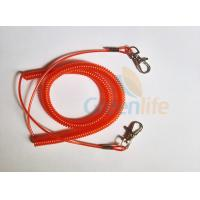 Promotional Spiral Retractable Fishing Lanyard , Red Coiled Security Tethers Manufactures