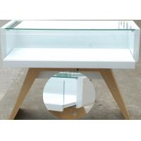 Veneer Wood Cell Phone Display Case White Color With LED Strip Lighting Manufactures